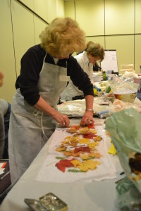 Prepping leaves for wrap and rust dyeing. Can't wait to find out what Maggie Vanderweits teaching this year
